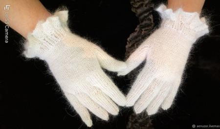 """Перчатки вязаные пуховые """"Нежность"""" ручной работы на заказ"""