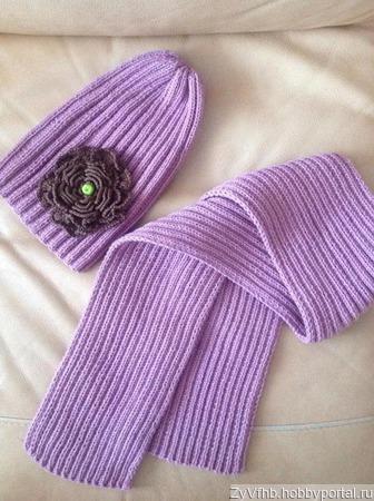 Шапочка-тыковка и шарф ручной работы на заказ