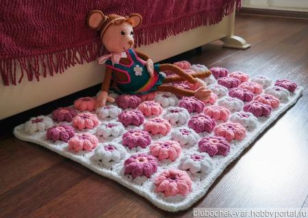 """Коврик вязаный """" Розовые цветы"""" ручной работы на заказ"""