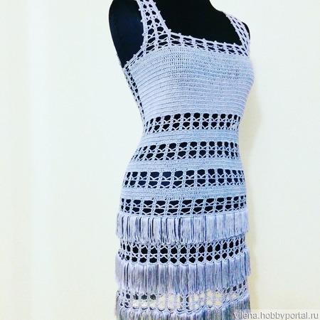 Вязаное платье из шелка ручной работы на заказ