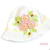 Панамка с цветами для девочки