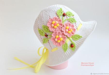 Панамка с цветами для девочки ручной работы на заказ