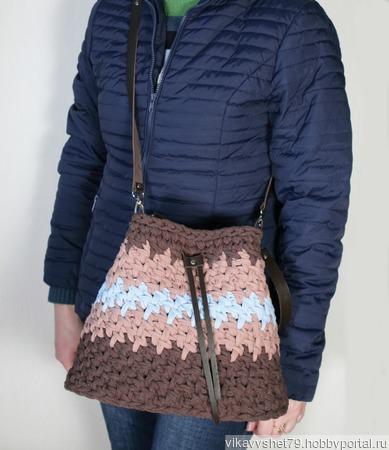 Сумка-торба из трикотажной пряжи ручной работы на заказ