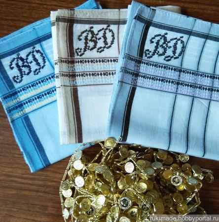 Мужской носовой платок с инициалами ВД ручной работы на заказ