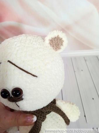 Вязаный белый мишка ручной работы на заказ