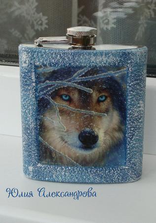 """Фляжка """"Волк"""", 8 унций/240 мл ручной работы на заказ"""