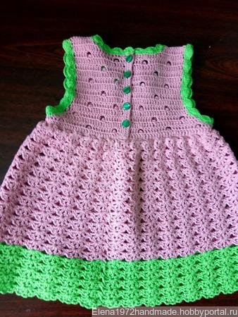 """Кружевное платьице для малышки """"Чайная роза и зелень"""" ручной работы на заказ"""