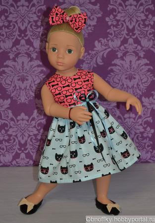 """Платье для куклы """"Розовые очки"""" ручной работы на заказ"""