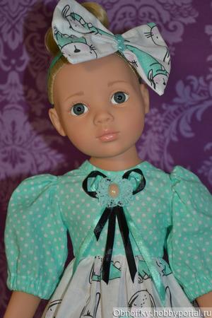 """Платье для куклы """"Сонные зайчики"""" ручной работы на заказ"""