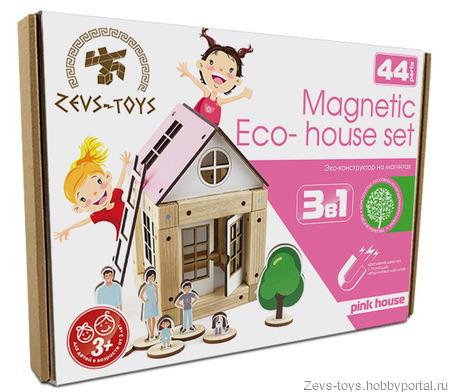 "Эко-конструктор на магнитах ""Pink house"" ручной работы на заказ"