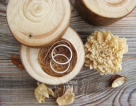 Свадебная коробочка для колец деревянная Сосна ручной работы на заказ
