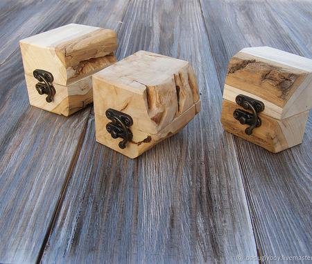 Коробочка для колец деревянная Дуб ручной работы на заказ