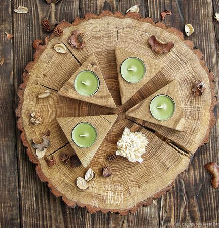 Набор деревянных подсвечников ручной работы на заказ