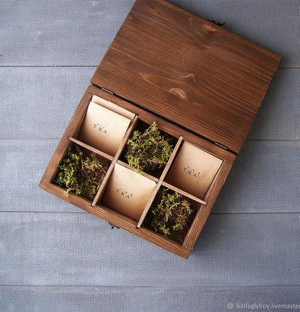 Шкатулка для чая с разделителями ручной работы на заказ
