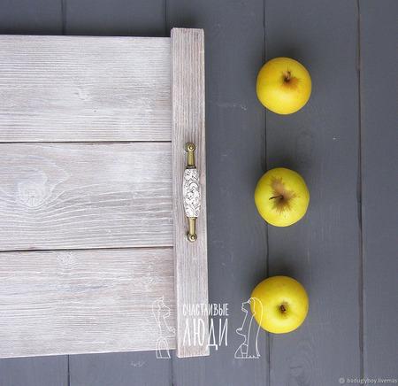Деревянный фотофон - поднос ручной работы на заказ