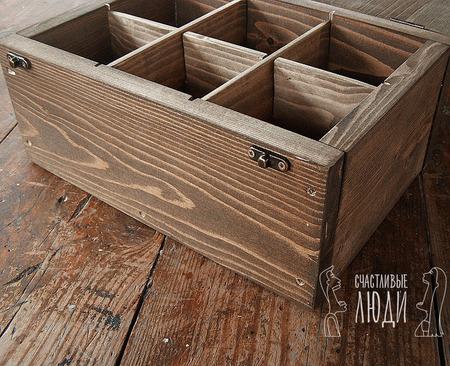 Шкатулка для чая деревянная с разделителями ручной работы на заказ