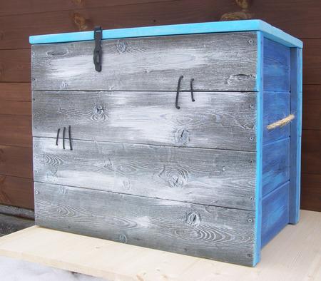"""Большой сундук деревянный """"Старик и море"""" ручной работы на заказ"""