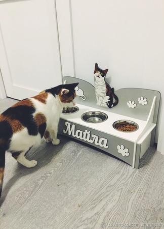 Подставка для еды и воды для собак и кошек ручной работы на заказ