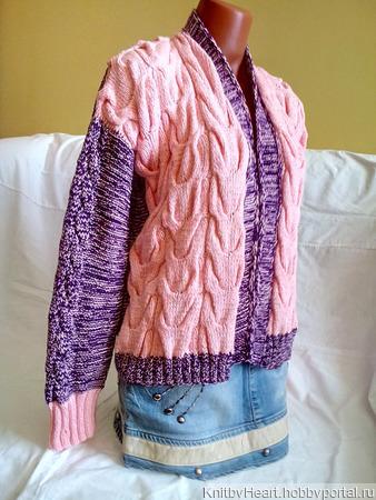 Бомбер из хлопка ручной вязки от Knit by Heart ручной работы на заказ
