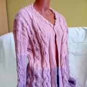 Длинный вязаный кардиган Pink Rose ручной работы от Knit by Heart