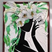 """Картина """"Амелия"""" из натуральной кожи"""