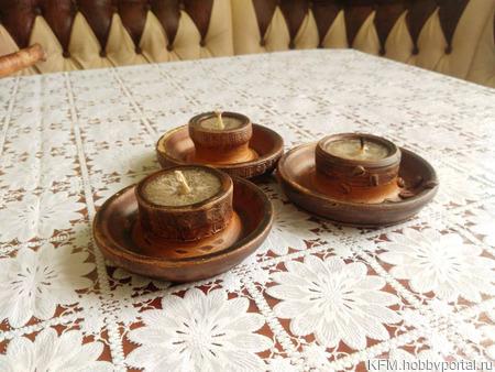 Керамические подсвечники со свечой ручной работы на заказ