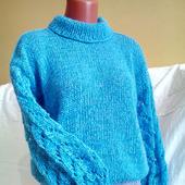 Стильный вязаный свитер с ажурными рукавами в Москве