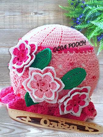 "Панамочка ""Розовые цветочки"" ручной работы на заказ"