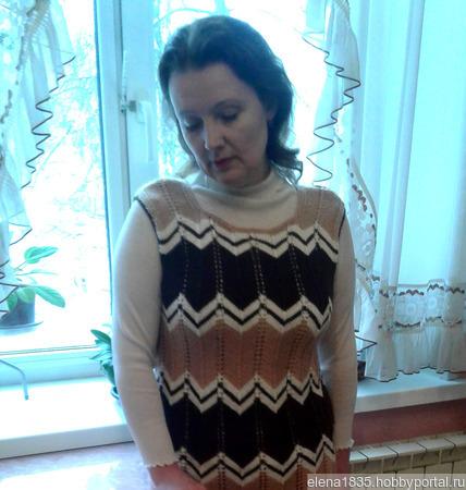 Женский теплый вязаный сарафан ручной работы на заказ