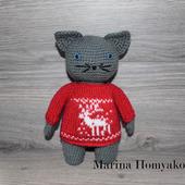 Котик в красном свитере