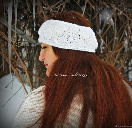 Теплая повязка на голову ручной работы на заказ