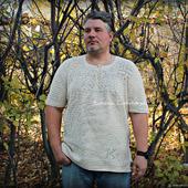 Мужская вязаная  рубашка с инициалами владельца