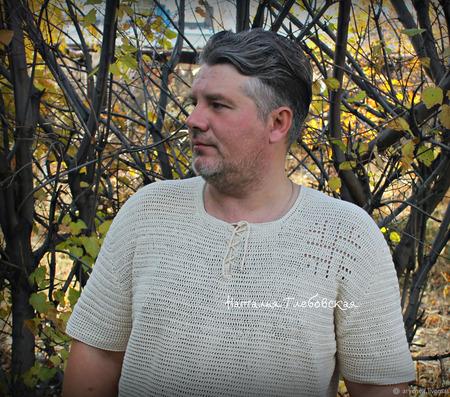 Мужская вязаная  рубашка с инициалами владельца ручной работы на заказ