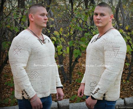 """Рубашка из коллекции """"Велес"""", серия """"Индивидуум"""" ручной работы на заказ"""
