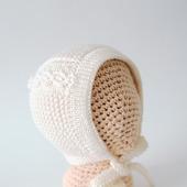 Чепчик для новорожденного цвета слоновой кости