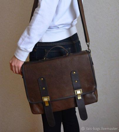 """Кожаный портфель унисекс """"Одиссей"""" ручной работы на заказ"""
