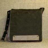 """Мужская кожаная сумка планшет на плечо """"Эгоист"""" цвета хаки"""