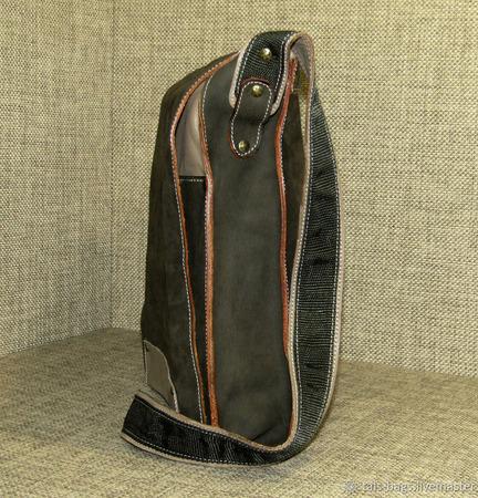 """Мужская кожаная сумка планшет на плечо """"Эгоист"""" цвета хаки ручной работы на заказ"""