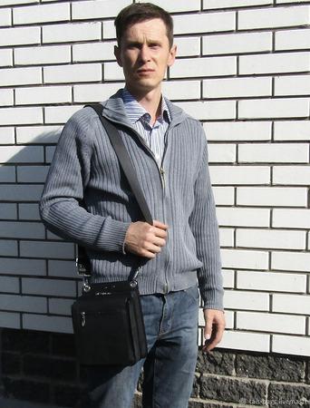 """Мужская кожаная сумка барсетка """"Марк"""" ручной работы на заказ"""