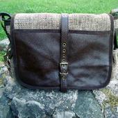 """Мужская кожаная сумка мессенджер с текстилем """"Ливингстон"""" коричневая"""
