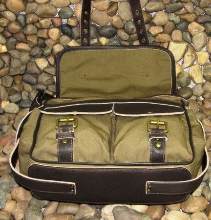 """Мужская кожаная сумка мессенджер с текстилем """"Самсон"""" в стиле милитари ручной работы на заказ"""