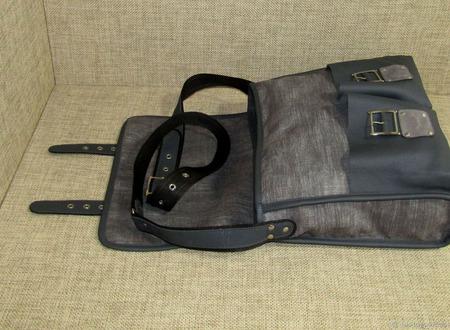"""Мужская сумка мессенджер из натуральной кожи и текстиля """"Гелиос"""" серая ручной работы на заказ"""