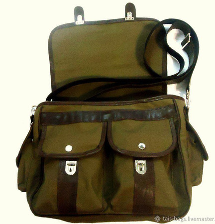 """Мужская сумка мессенджер кожаная с текстилем """"Студент"""" ручной работы на заказ"""