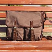 """Мужская сумка мессенджер из натуральной замши и джинса """"Гелиос"""" коричневая"""