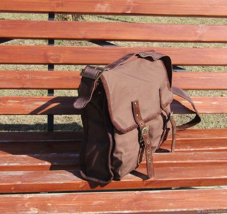 """Мужская сумка мессенджер из натуральной замши и джинса """"Гелиос"""" коричневая ручной работы на заказ"""