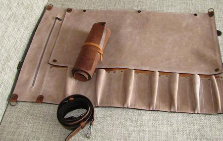 Двойная поварская кожаная скрутка для 7 ножей ручной работы на заказ