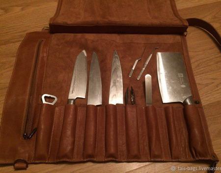 Кожаная поварская скрутка для 8 ножей орехового цвета ручной работы на заказ