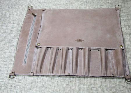 Кожаная поварская скрутка на 7 предметов бежевая ручной работы на заказ