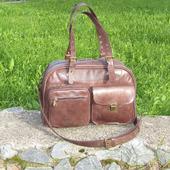 """Женская кожаная сумка """"На все случаи"""" цвета коньяк"""