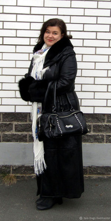 """Женский кожаный саквояж """"Франческа люкс"""" черный ручной работы на заказ"""